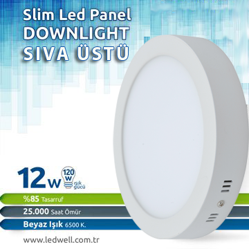 12watt Sıva ustu Led Panel Downlight Beyaz
