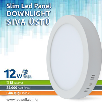 12watt Sıva ustu Led Panel Downlight Günışığı