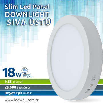 18watt Sıva ustü Led Panel Downlight Beyaz