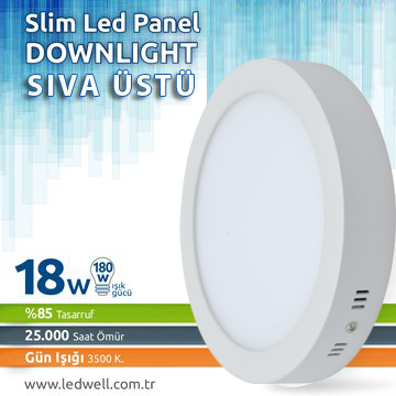 18watt Sıva ustü Led Panel Downlight Günışığı