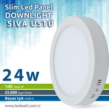24watt Sıva ustu Led Panel Downlight Beyaz