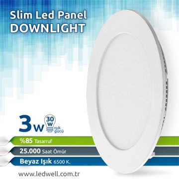 3watt Sıva Altı Led Panel downlight Beyaz