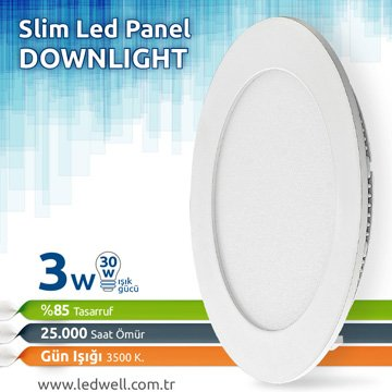 3watt Sıva Altı Led Panel downlight Günışığı